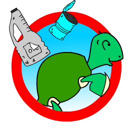 Logo with our Wellington the turtle, sorting his sentences out and cleaning up the sea.