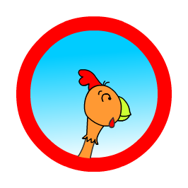 Logo of Belinda our chicken who loves words that rhyme with cat.