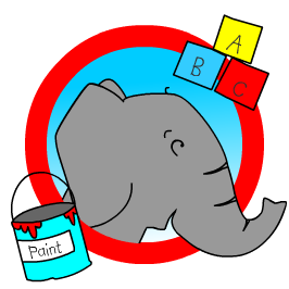Logo with our Lucy the elephant on it she's thinking about words within words