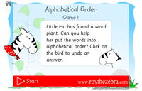 introduction screen of alphabetical order game