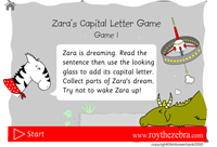 introduction screen of the beginner capital letters game
