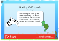 introduction screen of the spell CVC words game