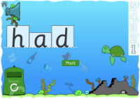 game screen showing a completed word and the mark button