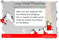 Intro screen showing instructions for the long vowel phoneme oo game