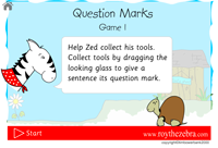 intro screen showing the instructions for how to play the question marks game