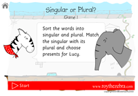 the introduction screen for the singular plural game showing Lucy and Roy the zebra