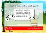 introduction screen of the spell digraph ch words