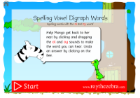introduction screen of the choose which vowel digraph game - oi and oy words