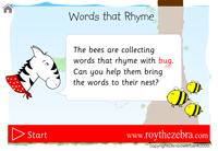 intro screen showing instructions for the words that rhyme with bug game