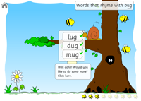 All the words that rhyme with bug have been marked correctly