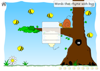 The start of the game with the bees, click on a bee and a word will appear