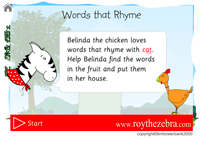 Intro screen for the words that rhyme with cat game - with instructions