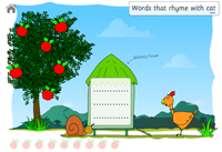 first screen with the apples which are hiding the rhyming words