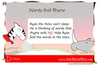 intro screen with instructions for the Ryan the rhino screen